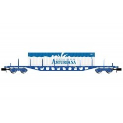"""RENFE, 4-axle flatwagon type Rgs, blue version, loaded with three """"Central Lechera Asturiana"""" containers, period V - ARNHN6405"""