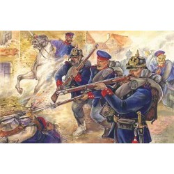 1/35 Prussian Line Infantry (1870-1871) (4 figures - officer on horse, 3 soldiers) - ICM35012