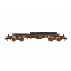SNCF, 4-axle flat wagon Remms without lateral boards in brown livery, loaded with steel plates period V - JOUHJ6176