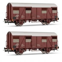 FS, set due Carri chiusi tipo Gs (carro F) a due assi, on pareti scorrevoli, livrea marrone, epoca IV-V - RIVHR6457