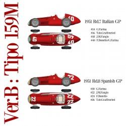 1/12 Alfa Romeo 159M Ver.B 1951 Rd.7 Italian GP #34 G.Farina / #36 T.de.Graffenried / #38 J.M.Fangio / #40 F.Bonetto/G.Farina - 1951 Rd.8 Spanish GP #20 G.Farina / #22 J.M.Fangio / #24 F.Bonetto / #26 T.de.Graffenried