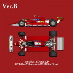 1/12 Ferrari 126CK ver.B 1981 rd.12 Dutch GP #27 Gilles Villeneuve #28 Didier Pironi