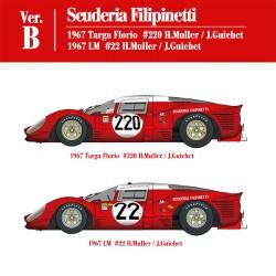 1/12 Ferrari 412P Ver.B Scuderia Filipinetti - 1967 Targa Florio #220 H.Muller / J.Guichet - 1967 LM #22 H.Muller / J.Guichet