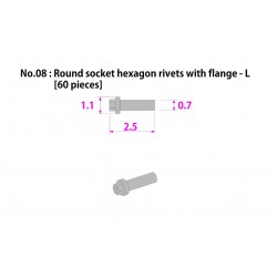 Metal rivet series No.8 Round socket hexagon rivetswith flange-L 60 pcs
